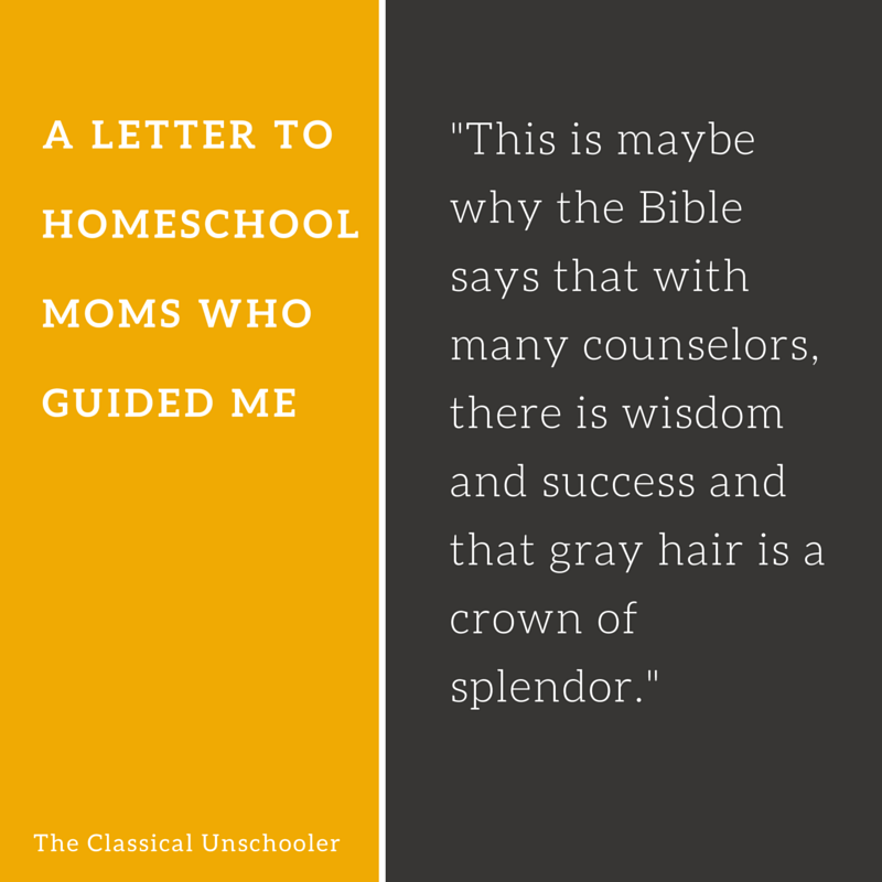 a letter to homeschool moms who guided me