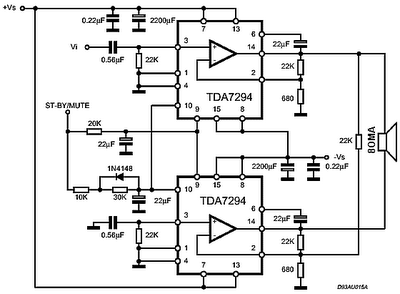 Rangkaian IC TDA7294 120 Watt Audio Power Amplifier