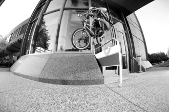 Reed Stark with a rail hop to bank in Minneapolis, MN. We met up downtown to cruise around and look for some photo spots one evening with about an hour's worth of usable light left. High hop, glossy marble bank, no problem for Reed.
