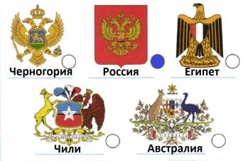 Найди на рисунке и отметь (закрась кружок) герб Российской Федерации. Если тебе интересно, узнай с помощью дополнительной литературы, Интернета, гербы каких стран показаны на рисунке. Подпиши