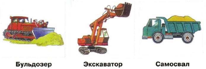 строительные машины бульдозер, экскаватор, самосвал