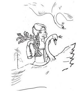 Дикие лебеди иллюстрация