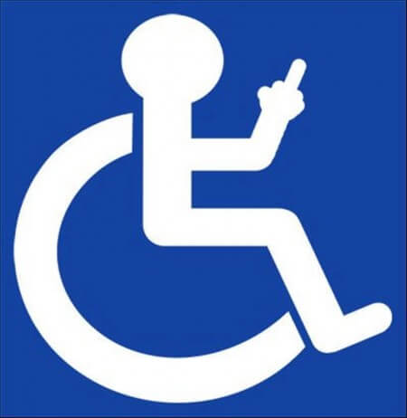 illustration of wheelchair image with middle finger out