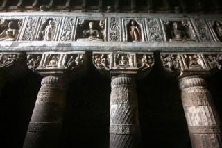 Wonderful sculptors on walls of Cave 19
