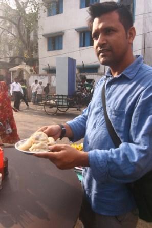 Amit of Blackboard with some dumplings