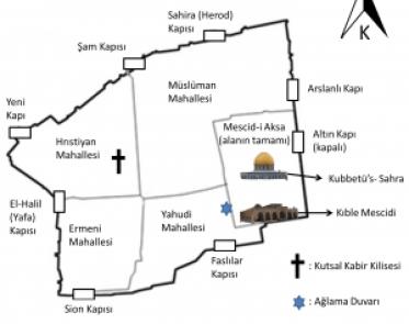 Kudüs şehrinin haritası