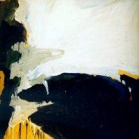 """Imaginare Landschaft"" (imaginary landscape), oil on nettle cloth, 100 x 70 cm, 1990"