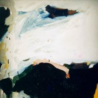 """Imaginäre Landschaft"" (imaginary landscape), oil on nettle cloth, 110 x 70 cm, 1990"