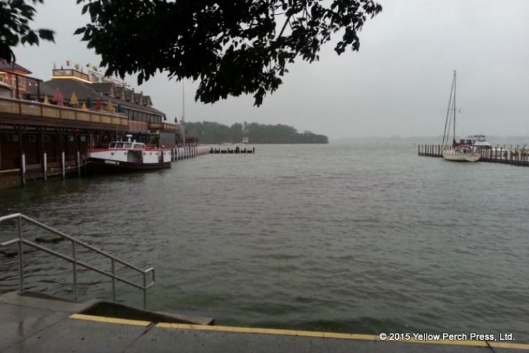 Boardwalk rain fog