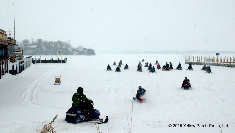 Snowmobiles at Put in Bay