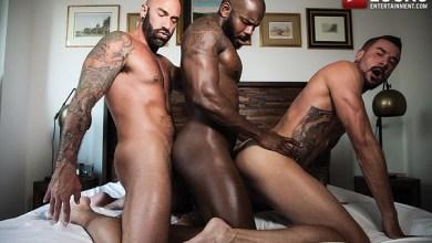 Photo of Interracial Bareback Threesome: Rod Beckmann, Drew Sebastian & Dolf Dietrich