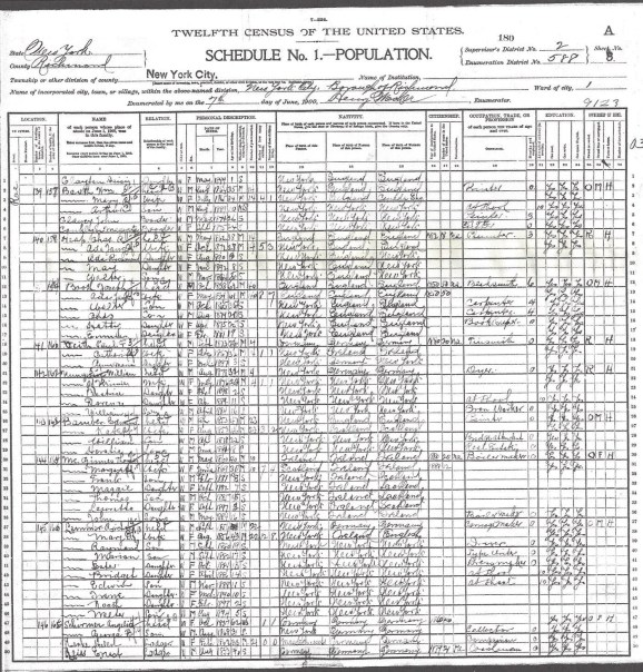 1900 US Census Castleton, Richmond Co. New York