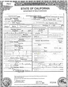 Death Certificate Ida May Peters
