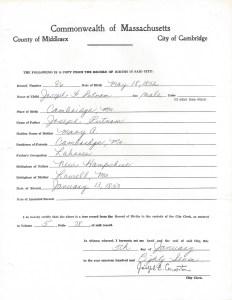 Cambridge, Massachusetts Birth Record Joseph F. Putnam