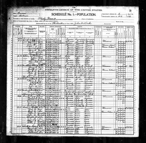 1900 US Census Liberty, Osborne county, Kansas
