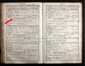 Church record of Marriage - Henry Heap and Mary Woolley