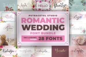Romantic Wedding Font Bundles