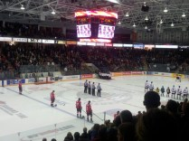 During the National Anthem before the game began