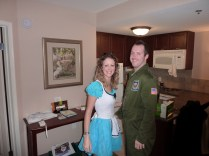 In our hotel room before going to the Halloween Party