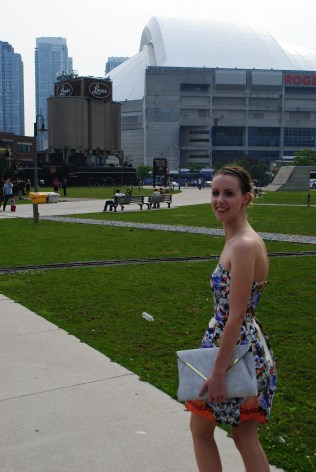 Standing in front of the Rogers Centre Arena