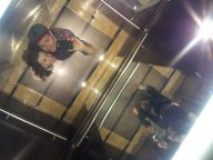 Us in the elevator in our hotel :)
