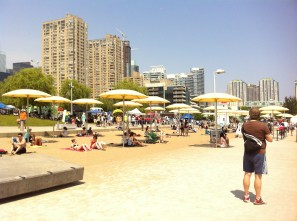 At the beach area, the weather was gorgeous