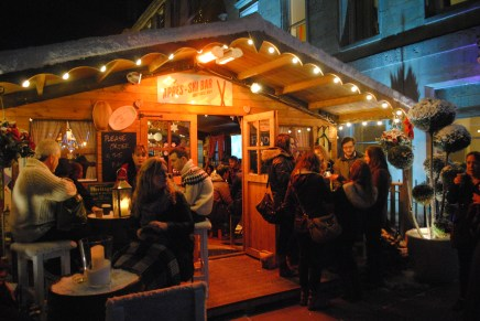 An apre-ski style bar set up in the street