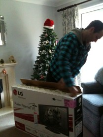 Rob getting open our new TV