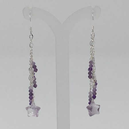 amethyst, shooting star, amethyst earrings, starseed jewelry