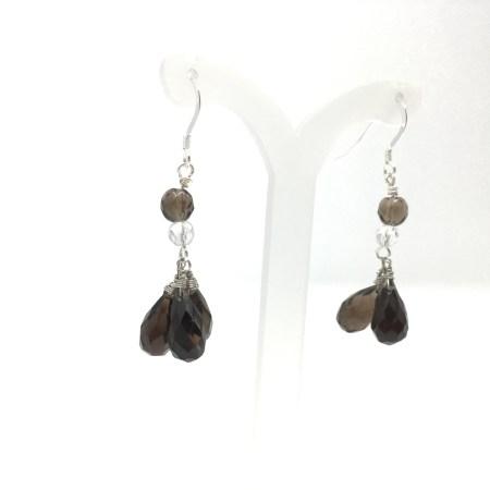 earrings, smoky quartz, dangling earrings, sterling silver