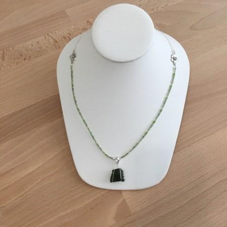 moldavite necklace, moldavite pendant, moldavite amulet, peridot necklace, green apatite necklace