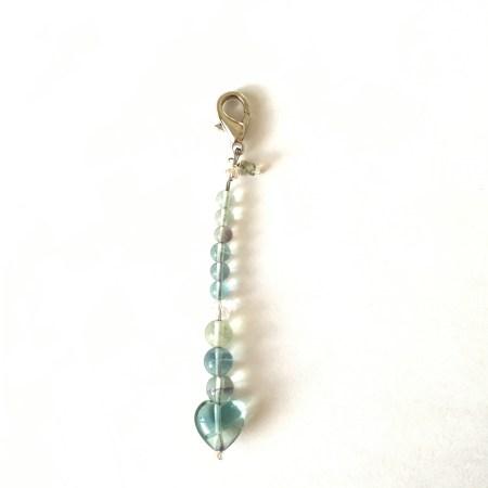 fluorite mala, fluorite jewelry, blue green fluorite, fluorite heart, wellness gift