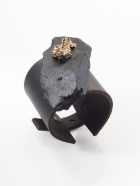 "Noritamy - bracelet ""Half metal collection"" - black hand fabricated rock with gold plated cast bismuth and leather Photo: Keith Glassman"