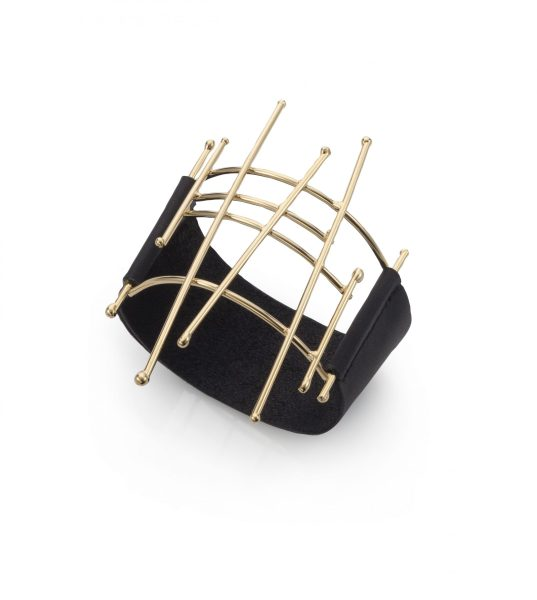 "Notitamy – bracelet ""Joints collection"" – gold dipped brass with black leather straps Photo: Keith Glassman"