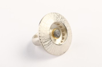 Andris Lauders, ring - silver 925, agate, 24k gold