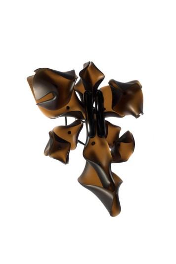 Hansel Tai ''Soul Mating X'' brooch - buffalo horn, acrylic, silver 925'