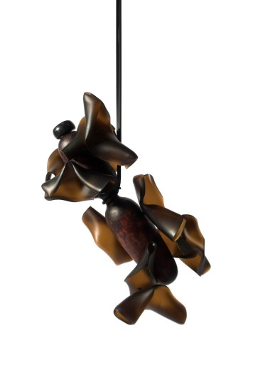 """Hansel Tai """"Soul Mating XI"""", necklace – cow horn, acrylic, silver 925′, zebra wood"""