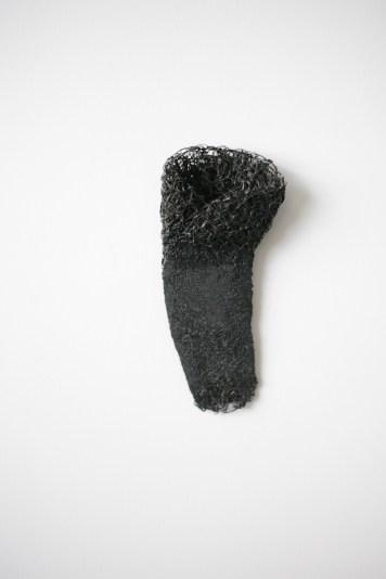 Merlin Meremaa, brooch - forged steel sponge, steel wire