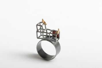 "Simeon Shomov ""Labyrinth"", ring – ilver 925′, 24k gold plated, 700 degrees glass enamel"