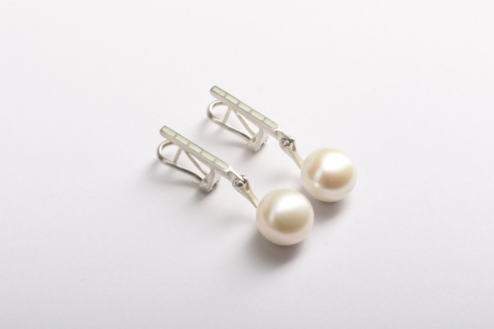 Valdis Brože, earrings - silver 925', pearls, enamel