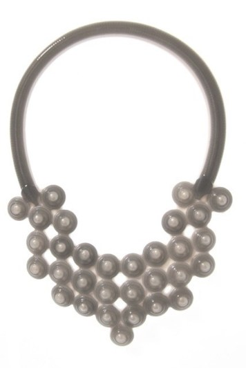 Isabelle Busnel, necklace - white silicone, pearls