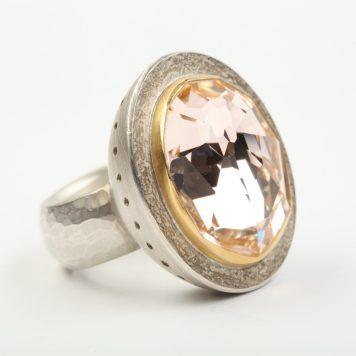 Andris Lauders, ring - silver 925, gold 750, svarowski