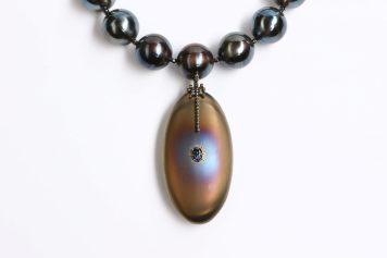 MĀRIS ŠUSTIŅŠ Latvia, necklace MOONLIGHT - Silver 925, gold 14k, titanium, tanzanite