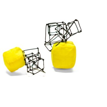 Kirsty Pearson, earrings, Confrontation - nylon, stainless steel, cotton
