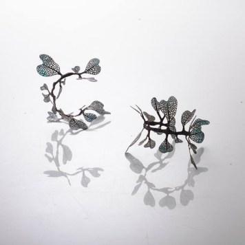 Wu Ching Chih, Leaf series, bracelets - copper, enamel