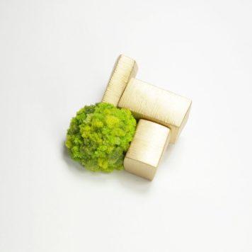 Yuki Sumiya, brooch, Garden - silver plated with 18ct gold, sponge