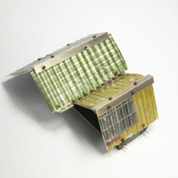 Yung-huei Chao, brooch, Rooftop series - aluminium, nickel silver, stainless steel wire and components (3)