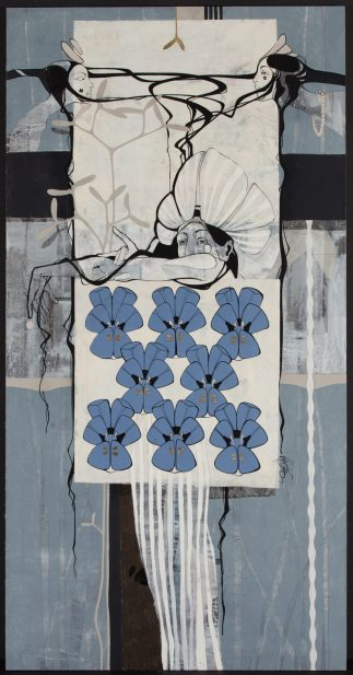 Roberts Koļcovs, Tale of violets, painting – canvas, acrylic paint, ink, graphite