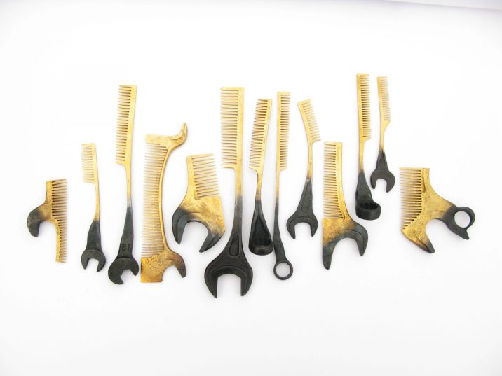 """Nils Hint, """"Combs"""" – forged steel, gilding. Photo – Nils Hint"""