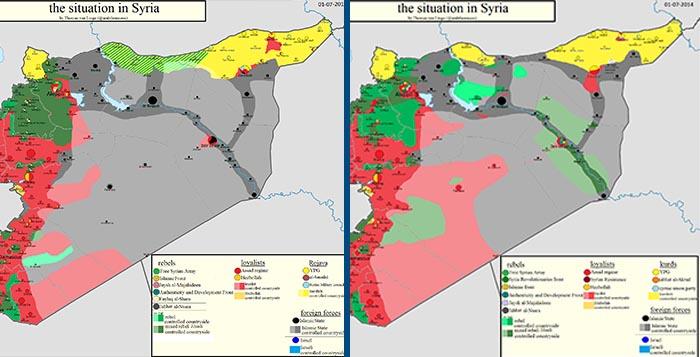 Usporedna Mapa Kontrole U Siriji Za Period 1 Juli 2014 1 Juli